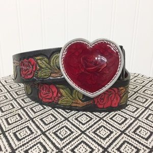 Express Red Rose Tooled Leather Belt Heart Buckle